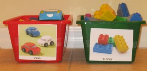 Toy Bins with Pictures for Sorting